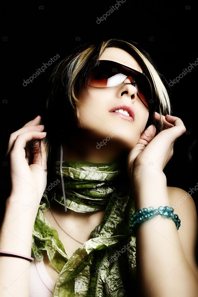 Fashion woman portrait wearing sunglasses  Stock Photo #1280721