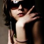 Fashion woman portrait with sunglasses — Stock Photo