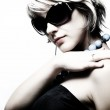 Young woman with fashion sunglasses — Stock Photo
