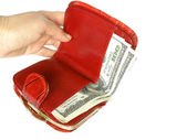 Red wallet with money — Stock Photo