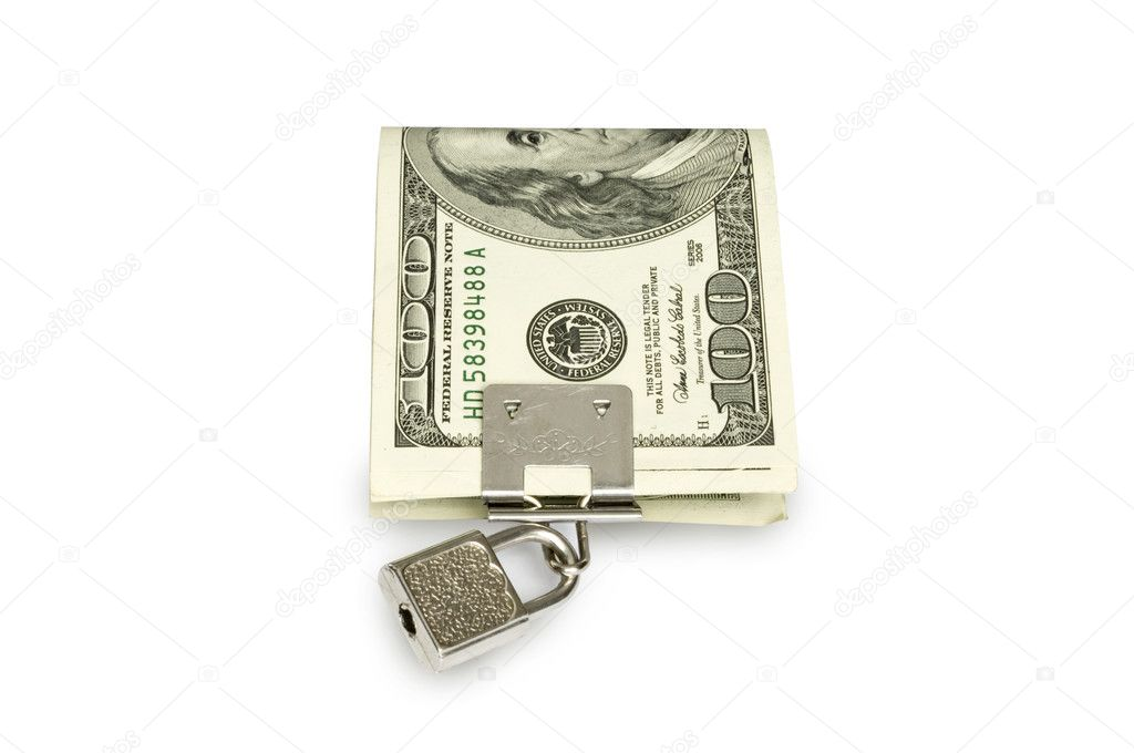 Dollar, currency, paper, bill, lock, wealth, security, safety, protection, number, concepts, finance,  — Stock Photo #2032641