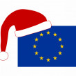 Flag of Europe with SantClaus cap — Stock Photo #1284191