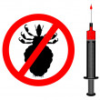 Prohibition sign for lice and inoculatio — Stock Photo