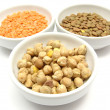 Three bowls of chinaware with garbanzos — Stock Photo