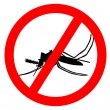 Prohibition sign for mosquitos on white — Stock Photo
