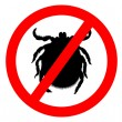 Prohibition sign for  ticks on white bac - Stock Photo