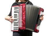 Cutout with a woman playing accordion on — Stock Photo