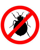 Prohibition sign for bedbugs on white ba — Stock Photo