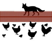 Fox behind a fence looking for chicken a — Stock Photo