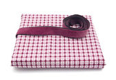 Purple band on a checked cloth — Stock Photo