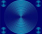 Cuatro pequeños y una gran luz azul circl — Foto de Stock