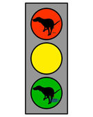 Traffic light showing a dog doing an int — Stock Photo