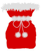 Red St Nicholas bag on white background — Stock Photo