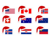 Flag of nine countries with Santa Claus — Stok fotoğraf