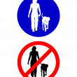 Traffic signs for walking with a dog — Stock Photo