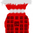 Stock Photo: Red St Nicholas bag with Advent calendar