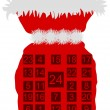 Royalty-Free Stock Photo: Red St Nicholas bag with Advent calendar