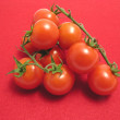 Little tomatoes on twig and red placemat — Stock Photo