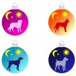 Christmas tree bauble with different dog — Stock Photo