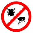 Prohibition sign for fleas and ticks on — Stock Photo