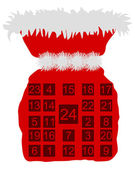 Red St Nicholas bag with Advent calendar — Stock Photo