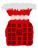 Red St Nicholas bag with Advent calendar — Stock Photo