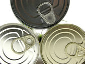 Three lying tin cans — Stock Photo