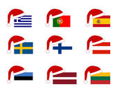 Flag of countries with Santa Claus cap — Stock Photo