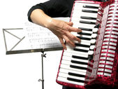 Woman playing accordion — Stock Photo