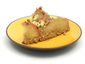 One slice of a wholemeal apple cake — Stock Photo