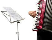 Woman playing accordion — Stock Photo