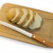 Stock Photo: Bread, chopping board and knife