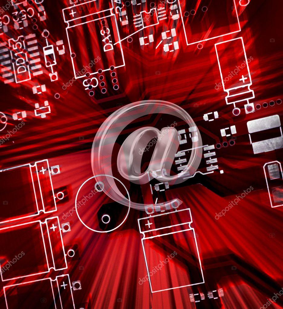 红色印刷电路板电子元器件电子邮件登录