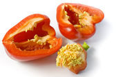 The red pepper cut on two halves — Stock Photo