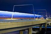 Most noc i kolejowego — Zdjęcie stockowe