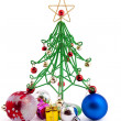 Stock Photo: Christmas bauble and christmas wirefir