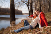 Couple on grass — Stockfoto