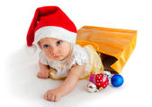 Child in christmas hat — Stock Photo