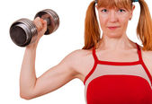 Women work out biceps — Stockfoto