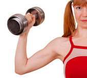 Women work out biceps — Stock Photo