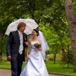Newlyweds with umbrella — Stock Photo #1293434