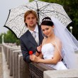 Newlyweds with umbrella - Stock Photo