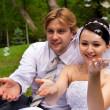 Newlywed met zeepbellen — Stockfoto