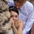 Embracing newlywed — 图库照片