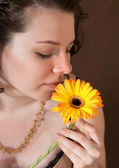 Pretty with flower — Stock Photo