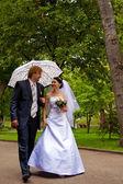 Newlyweds with umbrella — Stock Photo