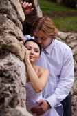 Embracing newlywed — Stock Photo
