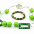 Royalty-Free Stock Photo: Green Bracelet and Necklace Isolated on