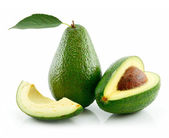 Ripe Avocado With Green Leaf Isolated on — Stock Photo