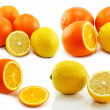 Set of citrus fruits (lemon and orange) — Stock Photo